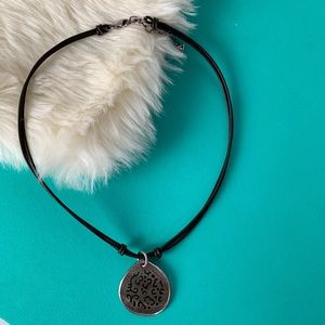 Silpada Black Lip Shell Silver Leather Necklace